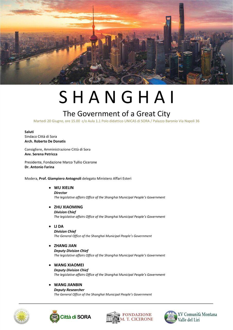 Locandina incontro delegazione Cinese - shanghai - fondazione marco tullio cicerone